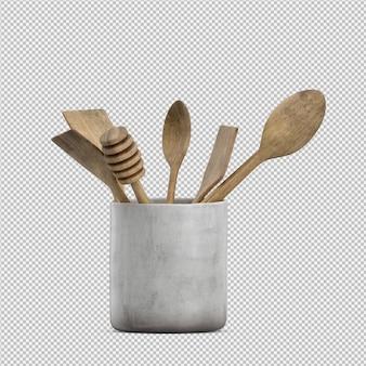 Gli utensili isometrici 3d della cucina rendono