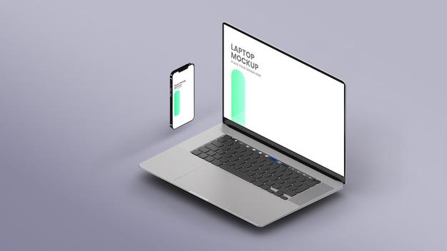 Laptop isometrico e smartphone mockup