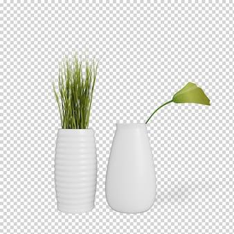 Piante isometriche in vaso rendering 3d