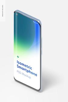 Isometrica smartphone mockup, ritratto a sinistra vista