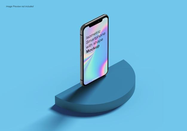 Smartphone isometrico con forma mockup