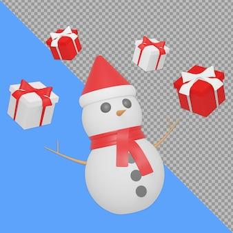 Pupazzo di neve isometrico con confezione regalo design rendering isolato