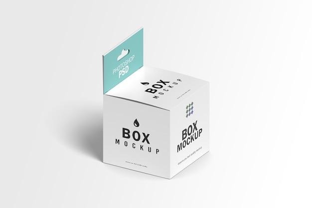 Mockup di imballaggio scatola quadrata isometrica