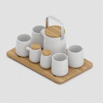 Tazze da tè isometriche sul tagliere di woden
