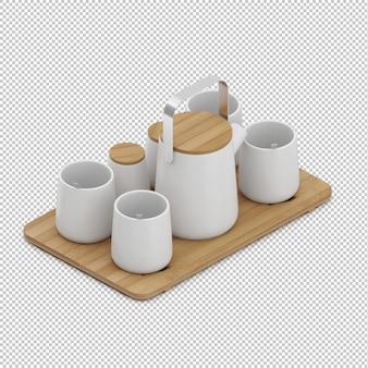 Tazze da tè isometriche sul tagliere di legno