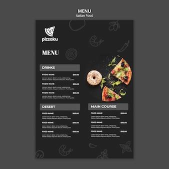 Disegno del modello di menu di cibo italiano