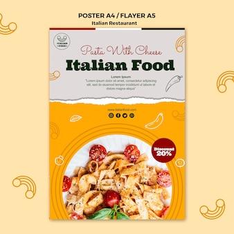 Poster di cibo italiano con promozione