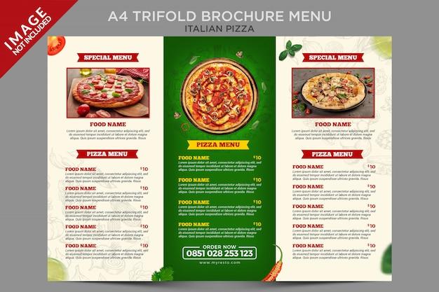 Modello di serie di menu brochure a tre ante per pizza italiana