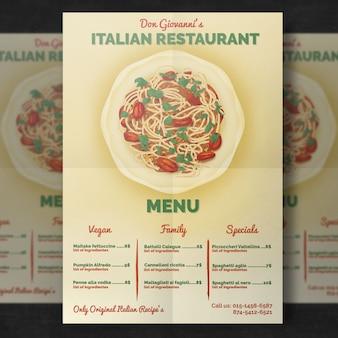 Modello di menu ristorante italiano