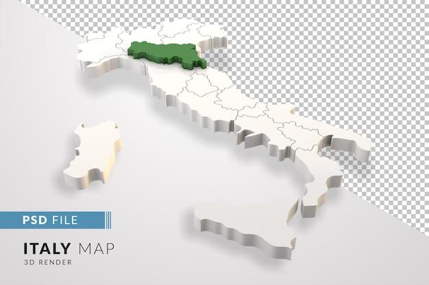Mappa dell'italia un rendering 3d isolato con le regioni italiane dell'emilia romagna