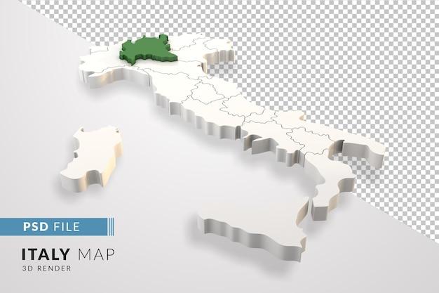 Mappa dell'italia un rendering 3d isolato con le regioni italiane della lombardia