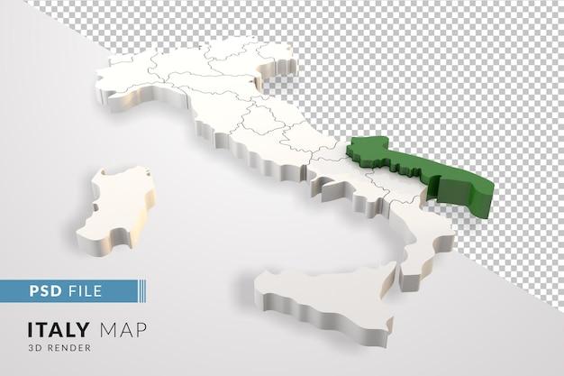Mappa dell'italia un rendering 3d isolato con le regioni italiane della puglia