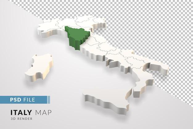Mappa dell'italia un rendering 3d isolato con le regioni italiane della toscana
