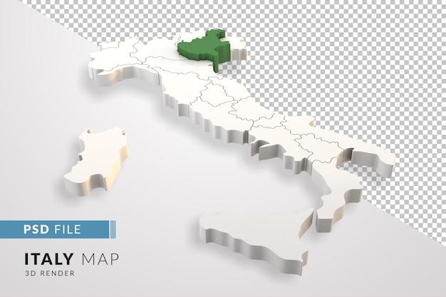 Mappa dell'italia un rendering 3d isolato con le regioni italiane del veneto