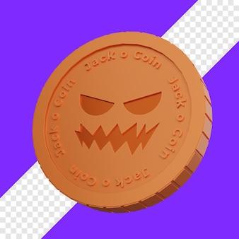 Jack o lantern a forma di moneta jack coin 3d illustrazione con sfondo trasparente