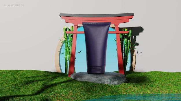 Podio per l'ambiente del giardino giapponese con porta torii Psd Premium
