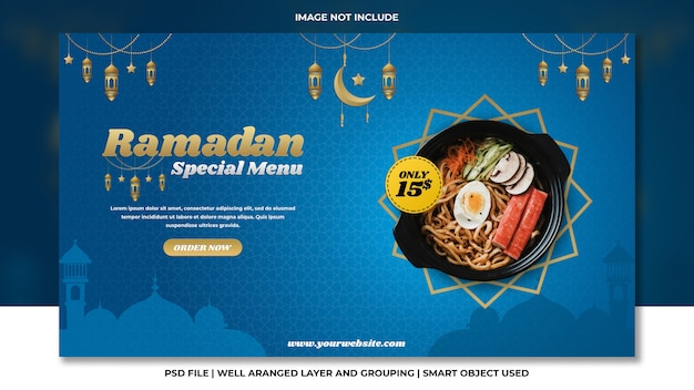 Modello psd premium blu speciale ramadan giapponese banner di ramen noodle web