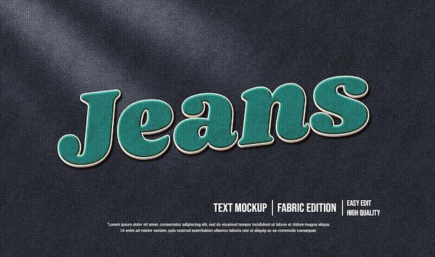 Modello di effetto stile testo 3d jeans