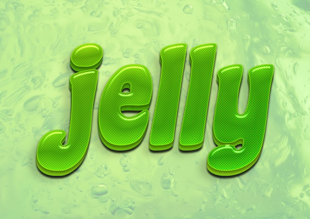 Effetto font 3d verde jelly