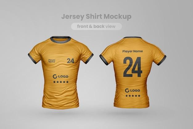Mockup di t-shirt in jersey vista frontale e posteriore