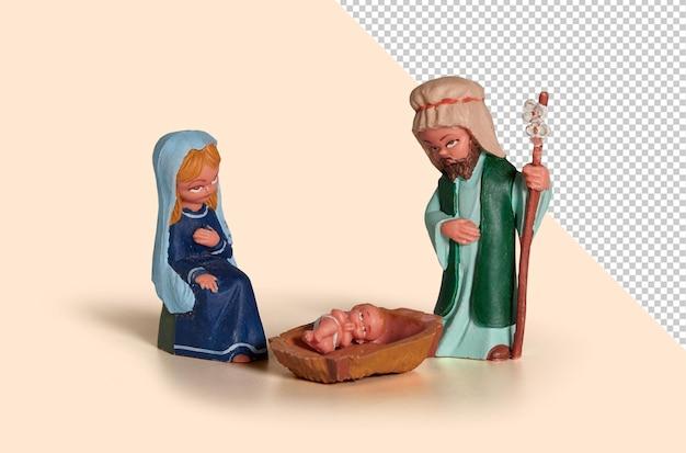 Gesù cristo nella mangiatoia con giuseppe e maria. modello