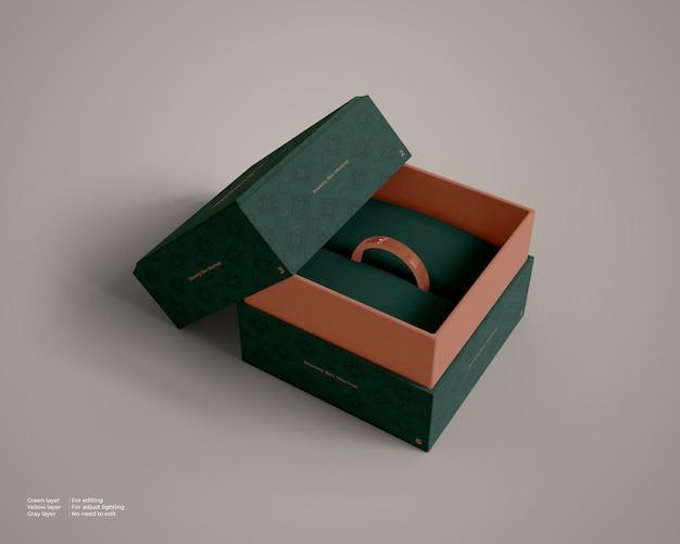 Mockup di portagioie con all'interno un anello