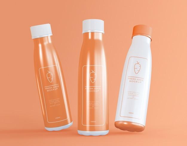 Mockup di confezionamento di bottiglie di succo