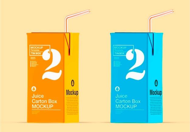 Scatola di cartone di succo con design mockup di paglia Psd Premium