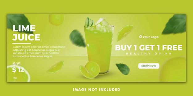 Juice drink menu facebook cover banner template per la promozione del ristorante
