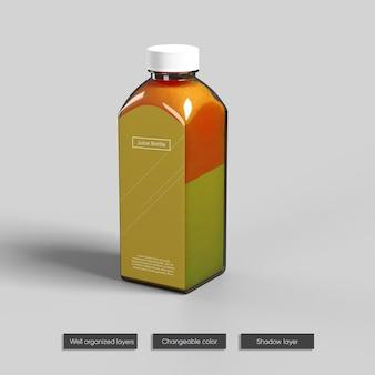 Progettazione di mockup di bottiglia di vetro di succo