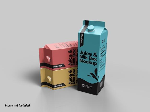 Mockup di scatola di cartone di succo e latte