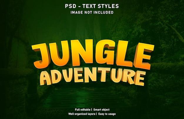Modello di stile effetto testo avventura nella giungla