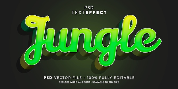 Modello modificabile stile giungla testo ed effetto carattere