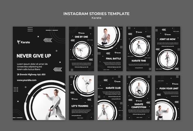 Modello di storie di instagram di classe di karate