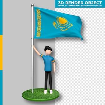 Bandiera del kazakistan con personaggio dei cartoni animati di persone carine. giorno dell'indipendenza. rendering 3d.