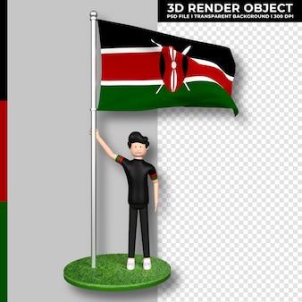 Bandiera del kenya con personaggio dei cartoni animati di persone carine. giorno dell'indipendenza. rendering 3d.