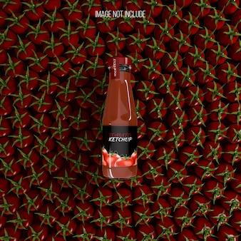 Bottiglia di ketchup sul mockup di pomodoro