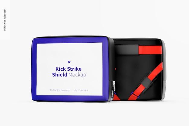 Mockup di scudo kick strike, davanti e dietro