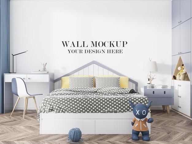 Mockup della parete della camera da letto dei bambini nella scena di rendering 3d