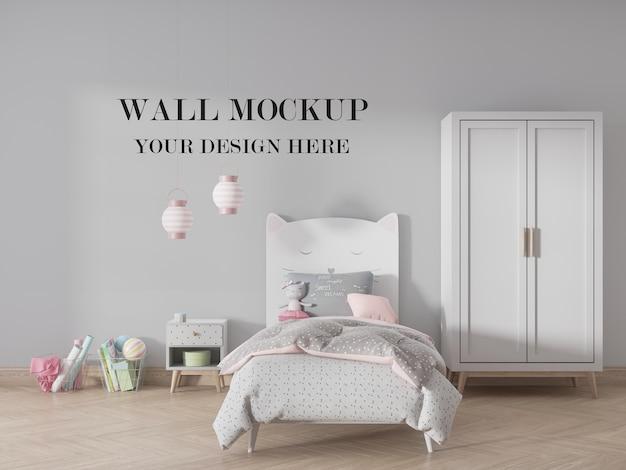 Mockup della parete della camera da letto dei bambini per il tuo design