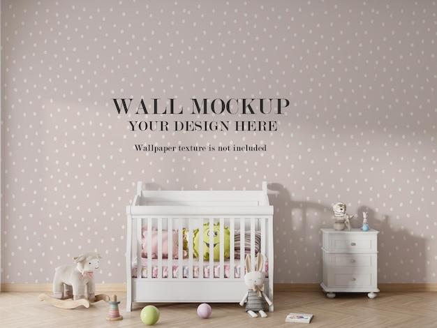 Design mockup di carta da parati per camera da letto per bambini