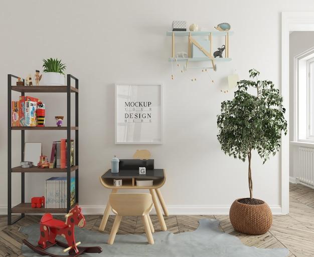 Cameretta con tavolo studio e mockup di poster