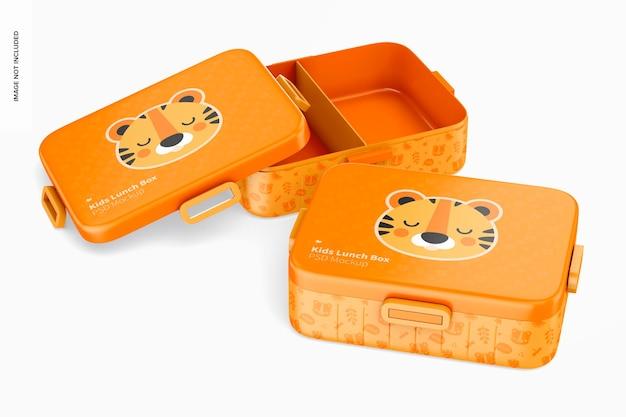 Mockup di scatola per il pranzo per bambini, aperta e chiusa