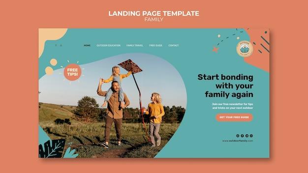 Modello di progettazione della pagina di destinazione della famiglia di bambini e genitori