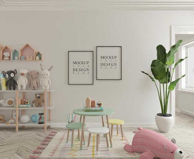 Sala giochi per bambini con poster mockup