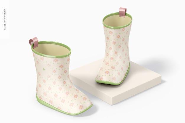 Mockup di stivali da pioggia per bambini, prospettiva
