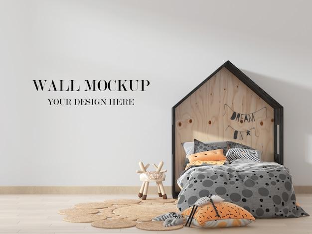 Mockup di parete della camera dei bambini con letto a forma di casa