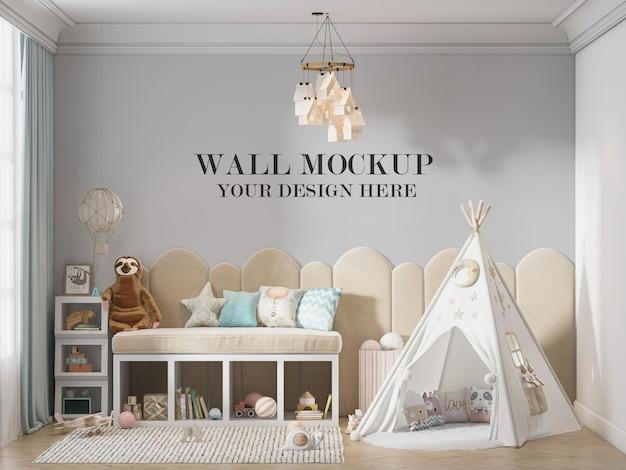 Mockup della parete della camera dei bambini con tenda da gioco nella stanza