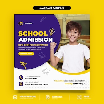 Modello di social media per l'ammissione alla scuola dei bambini
