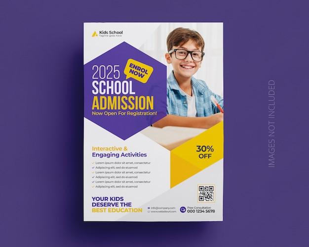 Modello di volantino e poster di ammissione all'istruzione scolastica per bambini